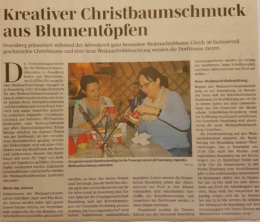 Weihnachtsbeleuchtung Basteln.Frauengemeinschaft Feusisberg 15 11 16 Christbaumschmuck Basteln